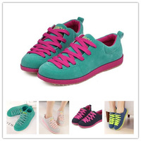 2014 New Women Sneakers Spring Fashion Sport Shoes Canvas Shoes Woman Sport Platform Flats Hiking Lace Up Shoes Multicolor
