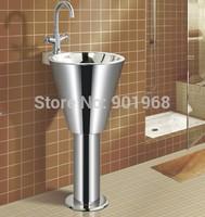 Bar hotelroom office building public WC wall fix stainless steel 18/8  bathroom pedestal  sinks wash sinks-2pcs/lot
