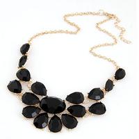 Fashion lady Banquet Accessories multicolour acrylic gem choker necklace Pendant jewelry statement bib necklace women 2014 M14