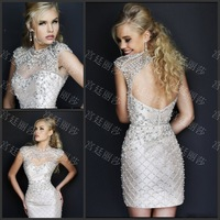 Luxury Sexy Backless Sheath Knee-length Short Crystal Bowknot Vestido Bridesmaid Prom Graduation Formal Party Dress(XNE-ED056)