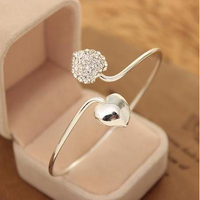 Accessories brief women's diamond double heart bangles love bracelet