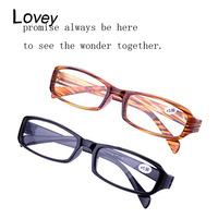Lovey wholesale cheap plastic reading glasses men women unisex promotion presbyopic eyewear resin lens black brown free shipping