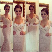 2014 Modern Couture Fast Delivery Beige Mermaid Evening Pageant Dresses Beaded Lace Long Sleeve Prom Dresses