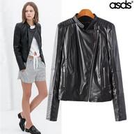 Retail 2014 New Fashion Slim PU Women Leather Jacket & Long Sleeve Women Short Coats 14895