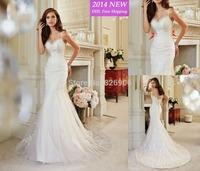 Free Shipping 2014 Elegant High Quality Elegant Mermaid Sweetheart Court Beading Lace Wedding Dresses Gowns QB-70