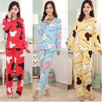 New Arrival Women Homewear Knitted Cotton Pajama Sets Patchwork Sleepwear Female Nightwear Cartoon Full Sleeve Indoor Clothing