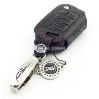 Genuine Leather flip remote Key fob Cover for Octavia 2015 Golf 7 VW skoda key wallet car accessories 2014 ADDAN