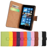 11Color,Genuine Leather Wallet Stand Flip Case For Nokia Lumia 820 Mobile Phone Bag Cover with Card Holder Black