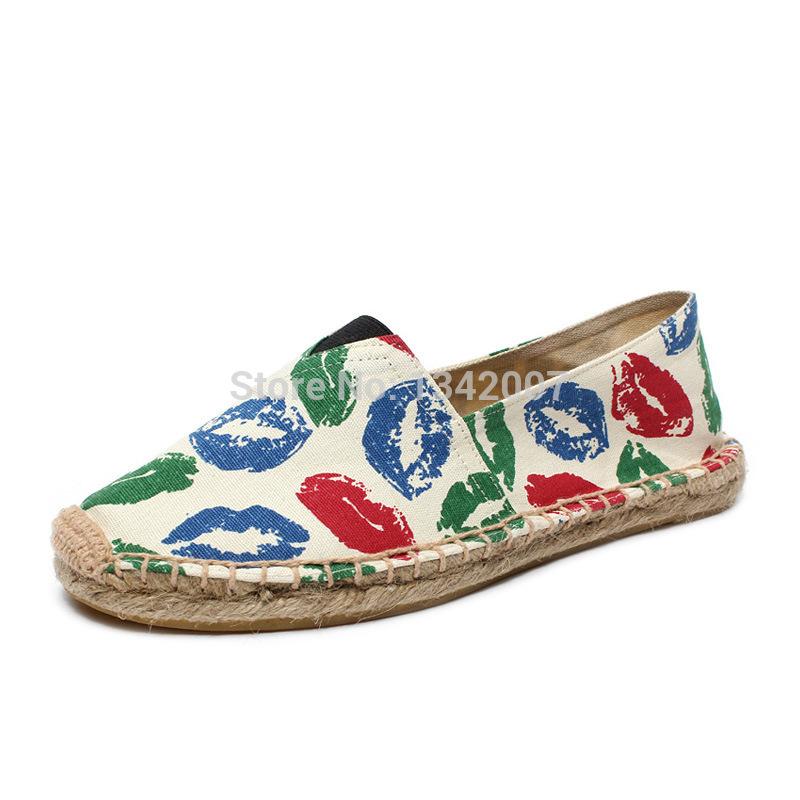 Lips moda dos Namorados Branco Alpargata sapatas de lona deslizamento das Alpercatas Sandálias Flats Boho Pescador Shoe FM020(China (Mainland))
