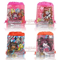 "4pcs/lot school bags""Monster High"",Children Drawstring Backpack School Bags Without handle,35*27cm,Non Woven Fabic"