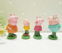 Free shipping 4pcs/lot  Peppa Pig Family Toys Pepa Pig seal signet stamp figure doll fun toys as gift.