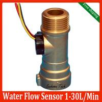 "Brass flow sensor,Electronic Hall Water Flow Sensor Liquid Flow Meter 1-30L/M G1/2"",Free shipping"