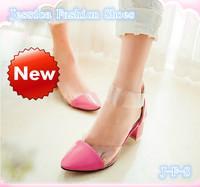 BEST SALE!! 2014 summer women sweet zipper patchwork cover heel chunky sandals plug size 41 42 43