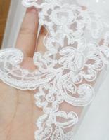 Fashion Cheap Wedding Accessory Short Lace Applique One Layer Bridal Veil Y-020