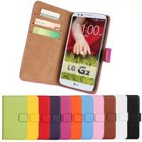 11Color,Genuine Leather Wallet Stand Flip Case For LG G2(D802) Mobile Phone Bag Cover with Card Holder Black