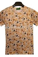 New 2014 Fashion Women /  Man Dog Print Short Sleeve Tee New Novelty  T Shirt ,Free Shipping