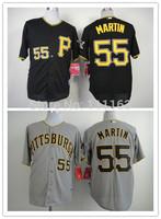 Baseball Jerseys Russell Martin  #55 Black,Gray Coolbase Baseball Jersey size:48~56+Mix Order,Free Shipping
