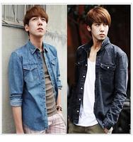 2014 NEW Men's Fit Slim Cowboy Shirts Long Sleeved Cotton Casual denim shirt korean fashion 2 Color, M-XXL