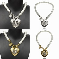 2014 new for woman vintage tibetan silver pearl rhinestone Heart Love statement necklace charm pendants free shipping