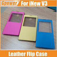 In Stock iNew V3 Case With High Quality Leather Flip Case For iNew V3 Smart Phone Case Cover Blue Yellow Pink Free Shipping