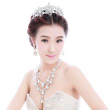 Elegant V Shape Luxury Bridal Three Piece Jewelry Set for Wedding Marriage with Crown Tiara Accessories