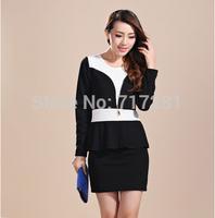 Hot Sale! New 2014 Fashion Korean professional package hip Slim long-sleeved dress Free Shipping       q4581