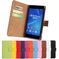 11Color,Genuine Leather Wallet Stand Flip Case For Sony Xperia Z2 L50w Mobile Phone Bag Cover with Card Holder Black
