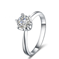 Classic 100% Real 18K Solid White Gold Moissanite Engagement Rings For Women 0.50CT VVS / H Factory Direct Free Shipping