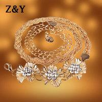 Exquisite Golden Metal Flower Buckle Rhinestone Designer Women Chain Belt Ladies Straps Waistband Female Cummerbund BT058