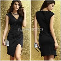 New Women Ladies Midi Sleeveless Deep V-neck Slim Bodycon Prom Dress Elegent Black Sky Blue Free One Size Free Shipping