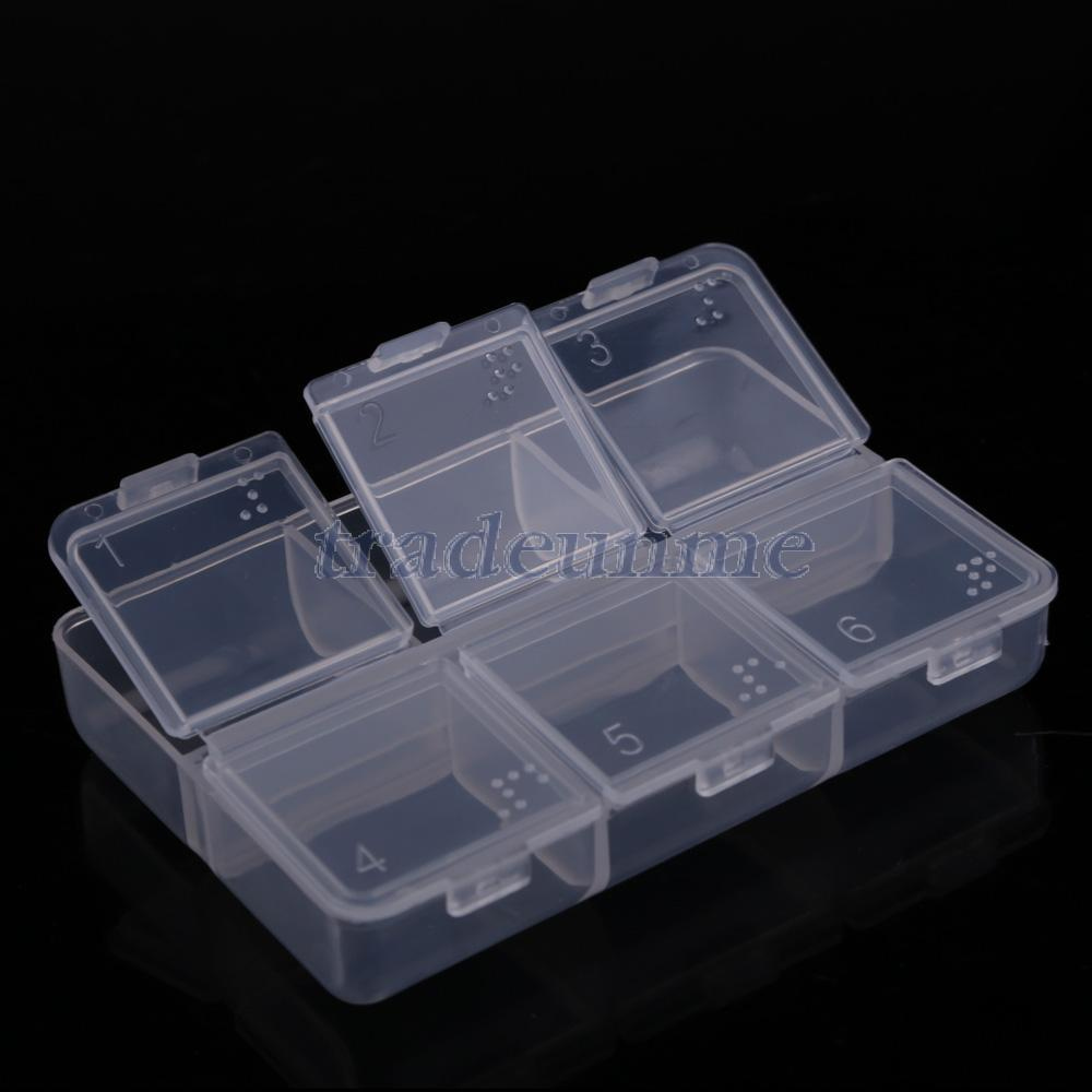 Free shipping Popular New Mini Portable Empty Braille 6 Cells Pill Medicine Drug Storage Case Box(China (Mainland))