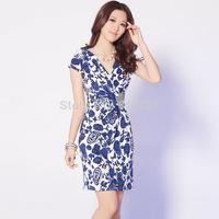 2014 summer new arrival women's chiffon leopard dress brand sheath short-sleeve v-neck casual print dresses for ladies s-xxl