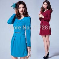 Hot Sale! New 2014 Fashion Korean yards package hip Slim long-sleeved dress Free Shipping       q4582