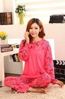 Candy Color Women Pajama Sets New Arrival Pullovers Homewear Knitted Cotton Cute Cartoon Sleepwear Full Sleeve Female Nightwear