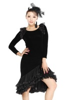 Latin dance wear set velvet  high-grade latin costume set black color new simple style