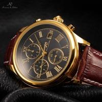 IMPERIAL KS Clear Mineral Glass Golden Case Luxury Calendar Mechanical Brown Leather Strap Casual Watch Men Wristwatch / KS149