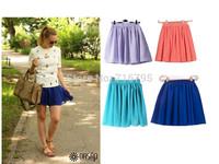 2014 new Fashion Women's Candy Color Skater Skirt  Plain Skater Flared Mini Skirts Free Shipping