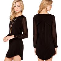 2014 Women Fashion Sexy Chiffon Shirt Back Cascading Design Long SLeeve Shirt Sleeve Rounder Collar Loose Women Top D428