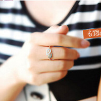 Korean Hot Sale New Arrival 1 pcs/pack Two leaves Crystal Silver Cute Fashion Small Ring Tail Ring R-045