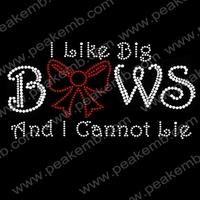 I Like Big Bows Bling Bling Iron Ons Rhinestone Transfers Design Wholesale Free Shipping 30pcs/Lot