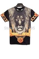 New 2014 Fashion Women /  Man Lifelike Lion Short Sleeve Tee Tee New Novelty  T Shirt ,Free Shipping