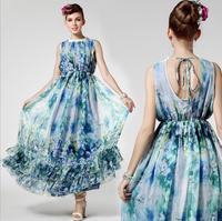 Party Dresses Long Dresses Empire Worsted Beach High-end Luxury Tencel Halter Print Length Women Dress 2014 New Wear Hot Sale