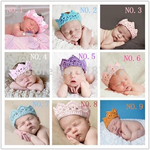 5Pcs Newborn Toddler Boy Girl Baby knitted Crochet Princess/prince Crown Tiara Headband 9 colors Taking Photography Props(China (Mainland))