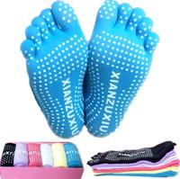 New Hot Yoga Sport Socks Women Fashion Skid Resistance Womens Toe Socks Wholesale 6 Pair/Box Free Shipping