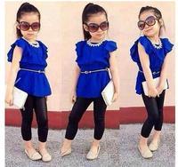 2014 new girls clothing chidlren summer high quality cloth set blue dress+black pants children clothing set children girls cloth