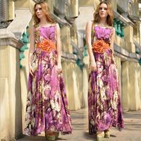 Vestido De Festa Rushed Long Dresses Advanced Digital Printing Cotton Bohemian Beach Big Flower Belt Dress Women 2014 New Wear