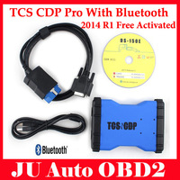 2014 New Design TCS CDP pro plus with Bluetooth no plastic box Blue color for cars and trucks with DHL Shipping