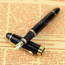 Free Shipping 1pc Jinhao X450 Fountain Pen Black Medium Nib Gold Trim New(China (Mainland))