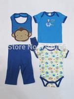 5 pcs set Baby short Sleeve Bodysuits  top Pant socks bibs Set infant boy Girl Clothes 12sets/lot#3681