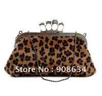 New Design Exquisite Leopard Printed Horse Hair Lady Clutch Shoulder Handbag Sling Bags, Evening Tote Ring Bag